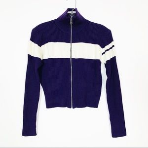 Nils Skiwear Zip Front Ribbed Long Sleeve Sweater